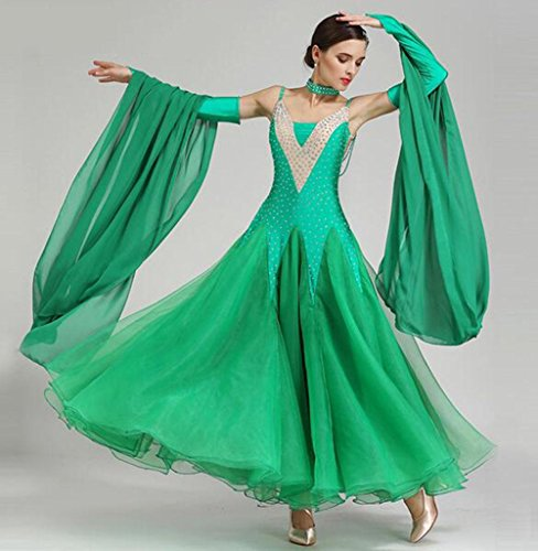 Tango Kostüm Tänzer - FGDJTYYJ Modern Dance Röcke GB Tanzkostüme Ballroom Dance Dress Walzer Tanzrock, s