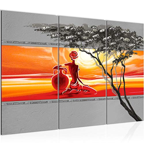 Photo Femme africaine Décoration Murale 120 x 80 cm Toison - Toile Taille XXL Salon Appartement Décoration Photos d'art Orange 3 Parties - 100% MADE IN GERMANY - prêt à accrocher 000931a