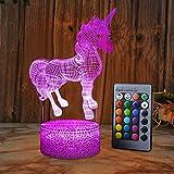 XEUYUTR Unicorn LED Night Light Room Decorazioni per feste Regali di compleanno di Natale Lampada da comodino presente per ragazze Ragazzi Bambini Neonati Età 5 4 3 1 6 2 7 8 9 10 11 12 Anni Bambini