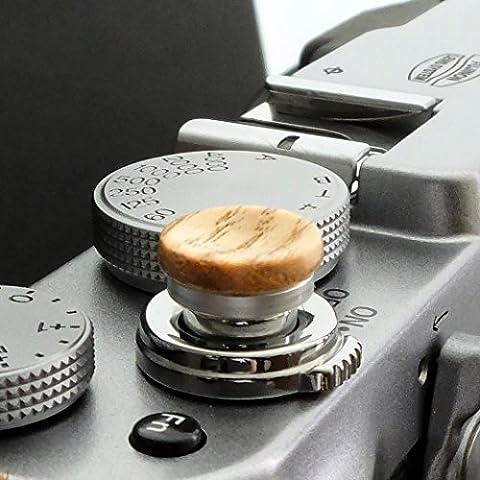 Soft Déclencheur en aluminium/ bois- Chêne (concave, 11mm) pour Leica M-Serie, Fuji X100, X100S, X100T, X10, X20, X30, X-Pro1, X-Pro2, X-E1, X-E2, X-E2S et tous les appareils photos avec la bouche filetage conique