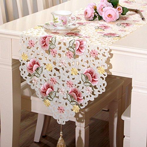 QiangZi Dentelle Table Runner Doux-au-tactile Tissu De Luxe Se Sentir Table Tissu De Mariage D'anniversaire Napperon, 40 * 175 Cm