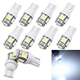 Grandview LED-Leuchtmittel für Auto-Beleuchtung 10 Stück weiß T10 5050 5 SMD W5W 501 194 192 168 Auto Leselicht Auto Tür Licht Kofferraumlicht Armaturenbrett-Leuchtmittel (21 V)