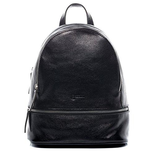 73e97de2aa65f BACCINI Rucksack Leder DINA groß Backpack Tagesrucksack Stadtrucksack Damen  Lederrucksack Damentasche schwarz