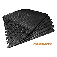 Assemblemat®-Interlocking Gymnastic Mats for-Yoga-Exercise-Garage- Floor protection-Playroom-Anti fatigue-EVA Foam-Rubber-Best Black leafage pattern-1 pack = 6 mats
