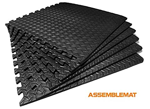 Assemblemat®-Interlocking Gymnastic Mats for–Yoga–Exercise-Garage- Floor protection-Playroom–Anti fatigue–EVA Foam-Rubber–Best Black leafage pattern-1 pack = 6