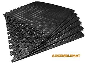 Assemblemat®-Interlocking Gymnastic Mats for–Yoga–Exercise-Garage- Floor protection-Playroom–Anti fatigue–EVA Foam-Rubber–Best Black leafage pattern-1 pack = 6 mats