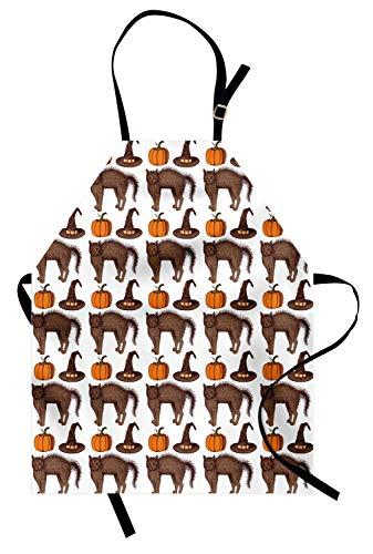 ABAKUHAUS Halloween Kochschürze, Saisonweinlese-Muster mit Kürbis-Kürbis-Hexen-Hüten und Katzen-Zahlen, Farbfest Höhenverstellbar Waschbar Klarer Digitaldruck, Orange Braun Grün (Halloween-katzen Hüten Mit)