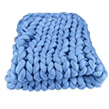 Iusun Home Accessories 1PC Soft Handmade Knit Throw Chunky Blanket Cotton Thick Line Blanket for Sofa Bed Home Decor (E)