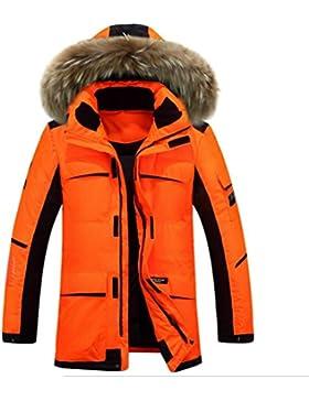 MHGAO Con capucha del invierno de tendencia 0f manera ocasional de la chaqueta acolchada chaqueta larga de Down...