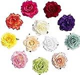 ILOVEDIY 3Stück Rose Haarbrosche Haarclips Blume Brautschmuck Ansteckblume Haarrose für Hochzeit