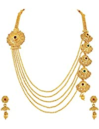 Asmitta Astonishing Jalebi Design Gold Plated Matinee Style LCT Stone Necklace Set For Women