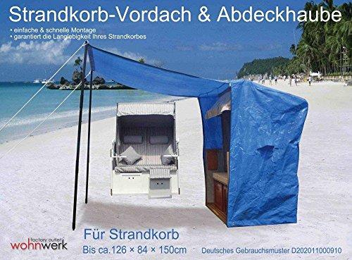 WOHNWERK! Strandkorb Nordsee de Luxe AKTION! Jetzt inkl. Haube, 2 Wurf- und 2 Nackenkissen - 4