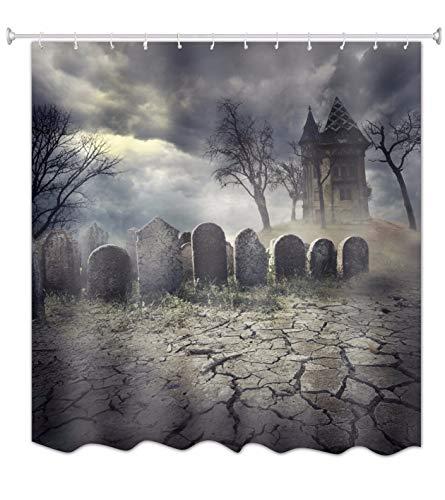 A.Monamour Halloween-Thema Gothic Friedhof Grabstein Spuk Schloss In Der Wildnis 100% Polyester Wasserdichte Duschvorhang Für Bad Décor 180X200 cm / 72