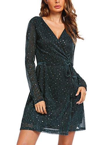 SOTEER Damen Elegantes Glitzer Kleid Partykleid Langarm Offener V-Ausschnitt Gürtel Multifunktional (Pailletten-kleid Zusammen)