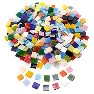 SurePromise 400pcs Mosaic Tiles Assorted Colors Square Glitter Glass Mosaics with Storage Box for DIY Art Craft Decoration