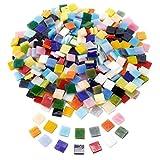 Anladia 10mm Mosaiksteine Mosaikfliesen Mosaik Quadrat Bunt gemischt Basteln DIY Deko ca. 400 St. mit Aufbewahrungsbox