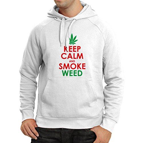 lepni.me Kapuzenpullover Halten Sie Ruhe und Rauch - Marihuana Blatt - Unkraut Raucher (X-Large Weiß Rote)