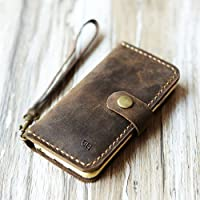 Genuine Leather iPhone xs max/xr / xs / 8/8 Plus/iPhone 7/7 Plus wallet case iPhone 6 / 6s / 6 plus wallet case/SE / 5 / 5s case - Italian distressed oiled leather (Distressed Brown)