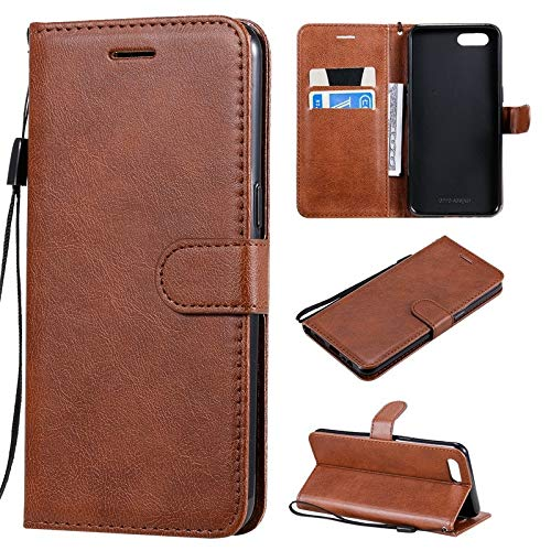 GHC Hüllen & Holster for Oppo A5 A3S, TPU-Schlag-Mappen-Kasten mit Magnetschnalle & Montage & Kartensteckplätze, Solid Color PU-Leder-Etui for Oppo A5 A3S (Color : Brown)