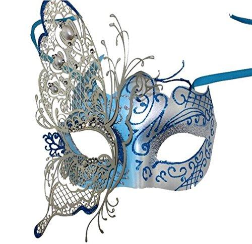 Kapmore Womens Maskerade Maske Swan Schwarz Halloweenmaske Metall Filigran Maske (Butterfly (Für Erwachsene Halloween Kostüme Butterfly)