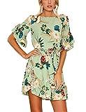 ISASSY Women Casual Loose Short Sleeve Dresses Floral Print Ruffle Hem Casual Mini Dress