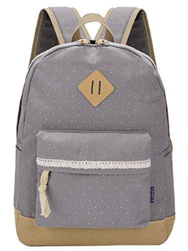 Preisvergleich Produktbild Rucksack Damen,  Coofit Schulrucksack Mädchen Canvas Rucksack Schule Freizeitrucksack Schultasche Daypack (Grau)