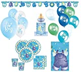 Kids Party World XXL 64 Teile Baby Wäscheleine in Blau Babyshower Set für 16 Personen