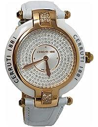 Cerruti 1881 Diamond Reloj de cerámica oro rosa – cuero