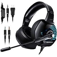 ONIKUMA K6 PC,PS4 Gaming Headset- 7.1 Surround Sound 4D Stereo Große Ohrenschützer Spiel Kopfhörer mit Mikrofon Speaker Blaue LED Lichteffekt Spielkopfhörer für PC, Switch, Laptop, Tablets, Handy, ps4, xbox1