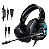 ONIKUMA K6 Gaming Headset- PC,PS4 Spiel Kopfhörer 7.1 Surround Sound LED 4D Stereo Noise Cancelling mit Mikrofon für xbox1, Switch, Tablets, Handy