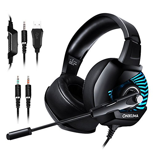 ONIKUMA K6 Gaming Headset- PC,PS4 Spiel Kopfhörer 7.1 Surround Sound LED 4D Stereo Noise Cancelling mit Mikrofon für xbox1, Switch, Tablets, Handy