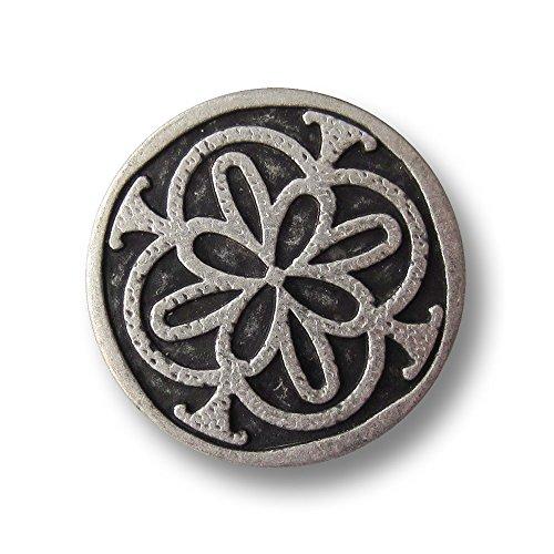 Knopfparadies - 5er Set eindrucksvolle älter wirkende flache Metall Ösen Knöpfe mit reliefartigem antikem oder keltischem Muster / altsilberfarben, geschwärzt / Metallknöpfe / Ø ca. 23mm