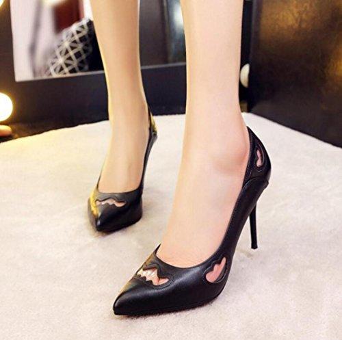 OL pompe cavalcate di cuoio del partito di cuoio scarpin antiscivolo tacco alto peep toe donne facile match scarpe casual scarpe limitate UE taglia 34-39 Black