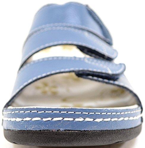 Mesdames/pour femme en cuir véritable Fermeture Velcro Été/vacances/plage Sandales/Chaussures Bleu - Jean