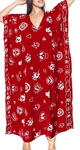 LA LEELA Schädel Halloween Skelett Kürbis Teufel Kostüm ayon und verschleiern rot Wohnzimmer schlafen Nachtabnutzung Kaftan Langen Kleid Kimono