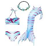 UrbanDesign Traje De Baño Disfraz Cola De Sirena Niña con Bikini para Nadar, 5-6 años, Fucsia