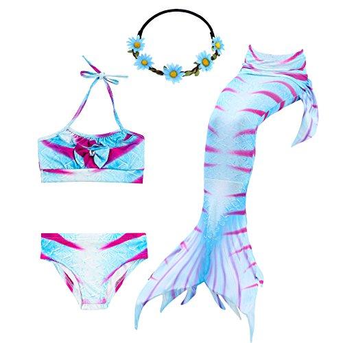 UrbanDesign Meerjungfrau Bademode Mädchen Meerjungfrau Badeanzug Schwanzflosse Zum Schwimmen Kostüm Für Kinder, 9-10 Jahre, Fuchsia