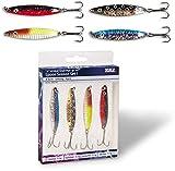 Zebco Trophy Spoon Set - Meerforellen- u. Wolfsbarsch-Blinkerset, in 6cm und 8cm, mit vier verschiedene Blinkern, verschiedene Gewichte (8cm)