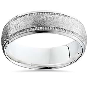 Pompeii3 Inc. 7MM Brushed 950 Palladium Solid Mens Wedding Ring Matte Band Size 7-12 - 9.5