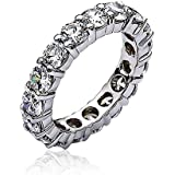 Bling Jewelry empilable clair CZ éternité Wedding Band Ring Argent Sterling