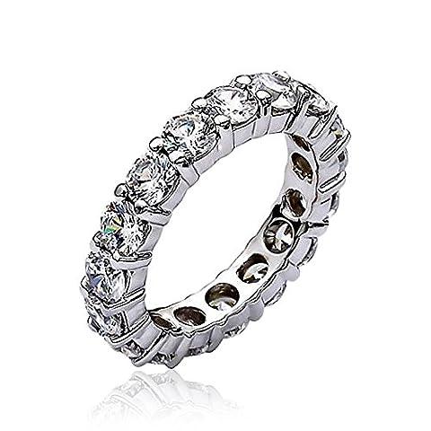 Bling Jewelry Stapelbar klar CZ Ewigkeit Hochzeit Band Ring Versilbert (Stapelbare Zirkonia Band)