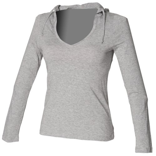 Skinni Fit Damen Kapuzen-Longsleeve / Kapuzen-Shirt mit V-Ausschnitt (Lange Länge) (Xlarge) (Hellgrau) (V-ausschnitt Kordelzug)