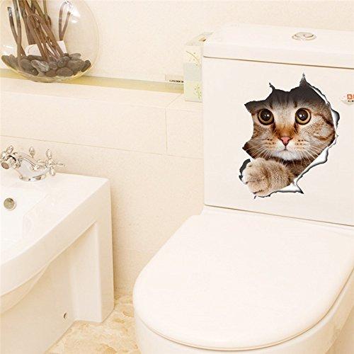 -Homeworld- Großer Katzen-Aufkleber mit 3D Effekt, 21x29cm, perfekt für WC Toilettendeckel, den Kühlschrank und verschiedene weiße Möbel. Tolles Geschenk für Katzenliebhaber!