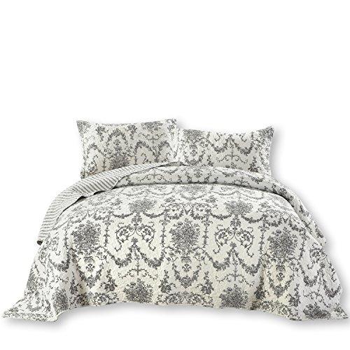 Dada Bettwäsche Kollektion eleganten viktorianischen Kandelaber Quilt, Patchwork Tagesdecke, Set, Floral, Weiß & Schwarz, 2-dreiteilig., Polyester-Mischgewebe, weiß, King Size -