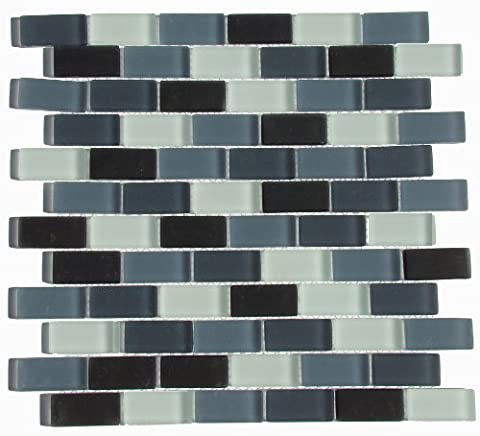 Interceramic INSBM1X2SHACT Shimmer Blends Mosaic Glass Tile, 1-by-2-Inch Tile on a 12-by-12-Inch Mosaic Mesh, Shadow Matte,