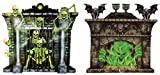 WHITY Whiteman – Halloween Party Film décoratif Monster Squelette graphique Cheminée Lot de 2, 100 x 90 cm, multicolore