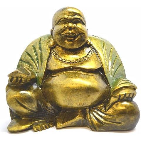 Fairtrade intagliato Buddha Statua Rub cinese-big belly per fortuna, disponibile in tutti i colori & misure, spedizione gratuita, Legno, marrone, 12cm Green Robe