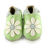 Scarpe per bimbo in pelle morbida - Margherita Verde - Suola in pelle antiscivolo | 18-24 mesi