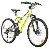 Bikesport Fahrrad MTB Mountainbike Fully Full Suspension 24 Zoll Parallax Shimano 18 Gang (Neongrüner Matt)