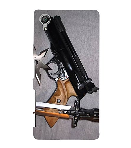 Fuson Designer Back Case Cover for Sony Xperia X :: Sony Xperia X Dual F5122 (Gun Knife weapons War Armament)  available at amazon for Rs.347